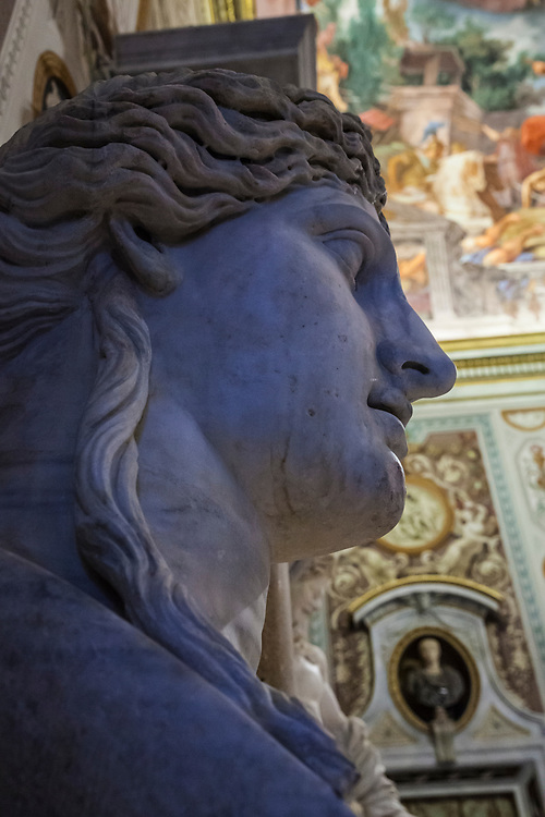 a wide angle closeup of a marble bust inside the Borghese Gallery in Rome, Italy.