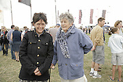 Emma Hope and her mother Daphne Hope, The Cornish Birthday party to Celebrate John Betjeman's Centenary. Carruan Farm. Polzeath. Conrwall. In aid of the new Padstow Lifeboat Station. 28 August 2006. ONE TIME USE ONLY - DO NOT ARCHIVE  © Copyright Photograph by Dafydd Jones 66 Stockwell Park Rd. London SW9 0DA Tel 020 7733 0108 www.dafjones.com