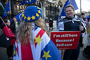 Anti Brexit protester with a placard which reads Im still here because I care at Westminster outside Parliament on 15th January 2020 in London, England, United Kingdom. With a majority Conservative government in power and Brexit day at the end of January looming, the role of these protesters is now to demonstrate in the hope of the softest Brexit deal possible.
