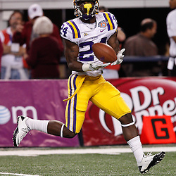Jan 7, 2011; Arlington, TX, USA; LSU Tigers running back Alfred Blue (24) during warm ups prior to kickoff of the 2011 Cotton Bowl against the Texas A&M Aggies at Cowboys Stadium. LSU defeated Texas A&M 41-24.  Mandatory Credit: Derick E. Hingle