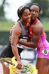 Samsung Diamond League adidas Grand Prix track & field; women's 100 meters, Shelly-Ann Fraser-Pryce, JAM, winner, congratulated post race by Baptiste,