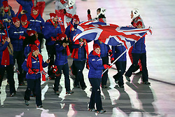 Great Britain's flag bearer Lizzy Yarnold leads of her team during the Opening Ceremony of the PyeongChang 2018 Winter Olympic Games at the PyeongChang Olympic Stadium in South Korea.
