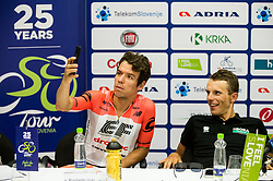 Rigoberto Uran of Team EF Education Cannondale and Rafal Majka of Bora Hansgrohe amking selphie during press conference of 25th Tour de Slovenie 2018 cycling race, on June 12, 2018 in Hotel Livada, Moravske Toplice, Slovenia. Photo by Vid Ponikvar / Sportida