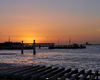 Sunrise along the Tagus River in Lisbon. Image taken with a Fuji X-T3 camera and 35 mm f/1.4 lens.
