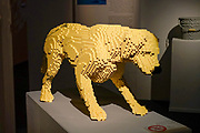dog Statue from Lego building blocks at the Holon Children's museum. Holon, Israel