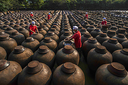 June 21, 2017 - Chongqing, Chongqing, China - Chongqing, CHINA-June 21 2017: (EDITORIAL USE ONLY. CHINA OUT) ..Jars of traditional fermented soy sauce, vinegar, pickles can be seen at an ingredient processing factory in southwest China's Chongqing, June 21st, 2017. (Credit Image: © SIPA Asia via ZUMA Wire)