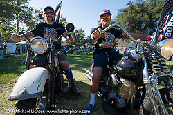 Grant Peterson and Mike Davis enjoy an unusually quiet moment on their bikes at the end of a long weekend of the Born Free chopper show. Silverado, CA. USA. Sunday June 24, 2018. Photography ©2018 Michael Lichter.