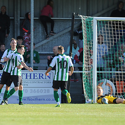 TELFORD COPYRIGHT MIKE SHERIDAN 29/9/2018 - GOAL. Daniel McGuire of Blyth scores to make it 1-0 during the Conference North fixture between Blyth Spartans and AFC Telford United at Croft Park, Blyth.