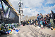 Members of the public pay their respects by laying flowers In memory of Prince Philip The Royal Highness the Duke of Edinburgh, London on 9 April 2021.