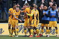 Mickey Demetriou of Newport county (28   centre) celebrates with his teammates after he scores his teams 1st goal. EFL Skybet football league two match, Newport county v Crawley Town at Rodney Parade in Newport, South Wales on Saturday 1st April 2017.<br /> pic by Andrew Orchard, Andrew Orchard sports photography.