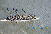 Chiswick, London, Great Britain.<br /> Merion Mercy Academy USA,Champ Girls Eights, competing at the <br /> 2016 Schools Head of the River Race, Reverse Championship Course Mortlake to Putney. River Thames.<br /> <br /> Thursday  17/03/2016<br /> <br /> [Mandatory Credit: Peter SPURRIER;Intersport images]