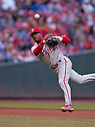 May 13, 2006, Cincinnati, Ohio, USA;  Jimmy Rollins of the Philadelphia Phillies makes an off balanced throw to first base to get the Cincinnati runner as the Phillies beat the Reds 2-0.