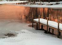 Winter sunrise at the Lakeport Dam.  ©Karen Bobotas photographer