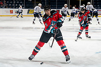 KELOWNA, BC - MARCH 11: Jarod Newell #5 of the Kelowna Rockets warms up with a shot on net against the Victoria Royals at Prospera Place on March 11, 2020 in Kelowna, Canada. (Photo by Marissa Baecker/Shoot the Breeze)