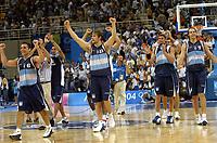 26/08/04 - ATHENS  - GREECE -  - BASKETBALL QUARTERFINAL MATCH   - Indoor Olympic Stadium - <br />ARGENTINA win (69) over GREECE (64) <br />Argentine celebration after win the match.<br />Here Arg. celebration.<br />© Gabriel Piko / Argenpress.com / Piko-Press