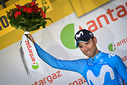 July 18, 2018 - Le Grand Bornand, FRANCE - Spanish Alejandro Valverde of Movistar Team receives the combativity award for the most aggressive rider after the eleventh stage in the 105th edition of the Tour de France cycling race, 108.5 km from ALbertville to La Rosiere Espace San Bernardo, France, Wednesday 18 July 2018. This year's Tour de France takes place from July 7th to July 29th. BELGA PHOTO DAVID STOCKMAN (Credit Image: © David Stockman/Belga via ZUMA Press)