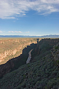 Vertical of Rio Grande River Gorge with light on river