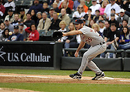 CHICAGO - SEPTEMBER 18:  Justin Verlander #35 of the Detroit Tigers covers first base during the game against the Chicago White Sox on September 18, 2010 at U.S. Cellular Field in Chicago, Illinois.  The Tigers defeated the White Sox 6-3.  (Photo by Ron Vesely)