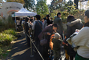 Visitors queuing up to enter the museum. Visitors must by tickets in advance and the museum is regularly sold out at weekends and on public holidays. The Ghibli Museum in Mitaka, western Tokyo opened in 2001. It was designed by animator Miyazaki Hayao and receives around 650,500 visitors each year.