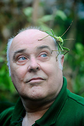 © Licensed to London News Pictures. 10/01/2012 Whipsnade, UK. .Melvin Lear, insect keeper at Whipsnade Zoo takes part in the zoo's annual stock take with a Jungle Nymph Stick Insect. The mammoth task involves counting every animal, great or small at the UK's biggest Zoo which is  home to more than 200 different species. Photo credit : Simon Jacobs/LNP