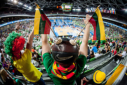 Lithuanian fans during basketball match between National teams of Ukraina and Lithuania in 2nd Round at Day 12 of Eurobasket 2013 on September 14, 2013 in SRC Stozice, Ljubljana, Slovenia. (Photo By Urban Urbanc / Sportida)