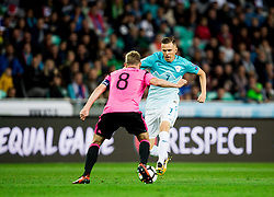 Darren Fletcher of Scotland vs Josip Ilicic of Slovenia during football match between National Teams of Slovenia and Scotland of Fifa 2018 World Cup European qualifiers, on October 8, 2017 in SRC Stozice, Ljubljana, Slovenia. Photo by Vid Ponikvar / Sportida