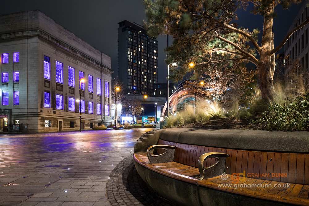 A quiet evening scene at Tudor Square in Sheffield, South Yorkshire. An urban landscape / cityscape featuring Graves Gallery, St Paul's City Lofts and the Winter Garden.