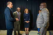 Chancellor Harold L. Martin Sr. and his wife Davida Wagner Martin and with master communicator, multidimensional businessman and international thought leader T.D. Jakes at North Carolina Agricultural and Technical State University's spring Chancellor's Speaker Series on Thursday, April 11, 2019.<br /> <br /> (Chris English/Tigermoth Creative)