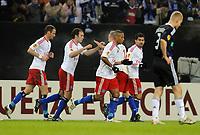 Fotball<br /> Tyskland<br /> 11.03.2010<br /> Foto: Witters/Digitalsport<br /> NORWAY ONLY<br /> <br /> Jubel 1:0 HSV v.l. David Rozehnal, Torschuetze Joris Mathijsen, David Jarolim, Dennis Aogo, Tomas Rincon<br /> Europa League Achtelfinale Hamburger SV - RSC Anderlecht