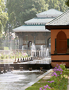 Fountains in Shalimar Bagh, a Mughal Garden. Mughal gardens were built by the Mughals in the Islamic style of architecture. Srinigar, Kashmir, India