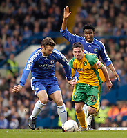 Photo: Leigh Quinnell.<br /> Chelsea v Norwich City. The FA Cup. 17/02/2007.<br /> Norwichs' Mark Fotheringham battles with Chelseas Mikel and Andriy Shevchenko(L)