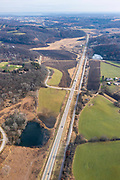 Aerial photograph of Highway 14 in western Dane County, Wisconsin, USA.