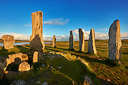 Central stone ring and monolith, erected around 2900BC, of the Calanais Standing Stones and its burial chamber built around 2000BC . Calanais Neolithic Standing Stone (Tursachan Chalanais) , Isle of Lewis, Outer Hebrides, Scotland. .<br /> <br /> Visit our SCOTLAND HISTORIC PLACXES PHOTO COLLECTIONS for more photos to download or buy as wall art prints https://funkystock.photoshelter.com/gallery-collection/Images-of-Scotland-Scotish-Historic-Places-Pictures-Photos/C0000eJg00xiv_iQ<br /> '<br /> Visit our PREHISTORIC PLACES PHOTO COLLECTIONS for more  photos to download or buy as prints https://funkystock.photoshelter.com/gallery-collection/Prehistoric-Neolithic-Sites-Art-Artefacts-Pictures-Photos/C0000tfxw63zrUT4