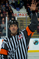 KELOWNA, BC - DECEMBER 27: Referee Tyler Adair signals the bench at teh Kelowna Rockets against the Kamloops Blazers at Prospera Place on December 27, 2019 in Kelowna, Canada. (Photo by Marissa Baecker/Shoot the Breeze)