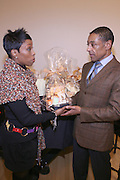 """Brenda Braxton of B.Braxton presents Giancarlo Esposito, with Gift Basket from B.Braxton's , at """" Cat on a Hot Tin Roof """" Press conference announcing limited broadway run,  at Broad Hurst Theater on January 8, 2008 in New York City"""