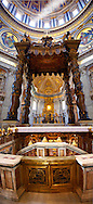 The Tomb of St. Peter and Baroque Canopy ( baldacchino) by Bernini in St Peter's, The Vatican, Rome .<br /> <br /> Visit our ITALY HISTORIC PLACES PHOTO COLLECTION for more   photos of Italy to download or buy as prints https://funkystock.photoshelter.com/gallery-collection/2b-Pictures-Images-of-Italy-Photos-of-Italian-Historic-Landmark-Sites/C0000qxA2zGFjd_k<br /> .<br /> <br /> Visit our EARLY MODERN ERA HISTORICAL PLACES PHOTO COLLECTIONS for more photos to buy as wall art prints https://funkystock.photoshelter.com/gallery-collection/Modern-Era-Historic-Places-Art-Artefact-Antiquities-Picture-Images-of/C00002pOjgcLacqI