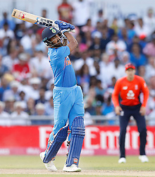India's Lokesh Rahul hits for 6 against England, during the 1st Vitality IT20 Series match at Emirates Old Trafford, Manchester.