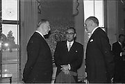 20/02/1963.02/20/1963.20 February 1963.Japanese Minister His Excellency Yujiro Iseki presents his credentials to President de Valera at Aras an Uachtarain. Image shows President de Valera chatting with Minister Yujiro Iseki and Frank Aiken after the ceremony..