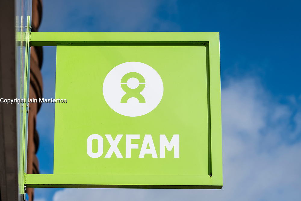 External view of Oxfam charity shop sign on Byres Road, West End of Glasgow, Scotland, United Kingdom