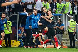 July 11, 2018 - Moscow, Russia - 180711 Luka Modric and Mario Mandzukic of Croatia celebrate after winning the FIFA World Cup semi final match between Croatia and England on July 11, 2018 in Moscow..Photo: Petter Arvidson / BILDBYRÃ…N / kod PA / 92085 (Credit Image: © Petter Arvidson/Bildbyran via ZUMA Press)