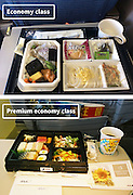 Airline Food: Economy Vs. First Class <br /> <br /> What used to be a woman's size 12 in 1968 is a woman's size 4 today; what used to be third-class is economy-class today. What changed? We've grown more sensitive: I'm not overweight, I still fit into a size 12. I'm not a third-class passenger, I'm a price conscious individual that rides in economy-class.<br /> Despite the name games, airline food hasn't changed much. Economy class meals still come in a wrapper, and business or first-class meals come with real cutlery. This list shows the sometimes striking difference between what the different classes eat.<br /> <br /> Photo shows: Ana Airlines<br /> ©Exclusivepix Media