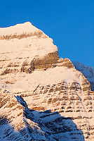 Sheer snow covered cliffs of Mount Robson 3,954 m (12,972 ft), Mount Robson Provincial Park British Columbia Canada