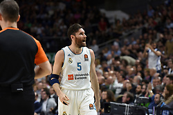 March 2, 2018 - Madrid, Madrid, Spain - Rudy Fernandez, #5 of Real Madrid gestures during the 2017/2018 Turkish Airlines EuroLeague Regular Season Round 24 game between Real Madrid and Fenerbahce Dogus Istanbul at WiZink center in Madrid. (Credit Image: © Jorge Sanz/Pacific Press via ZUMA Wire)