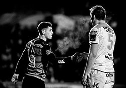 Cardiff Blues' Tomos Williams shakes hands with James Cannon after the game<br /> <br /> Photographer Simon King/Replay Images<br /> <br /> Guinness Pro14 Round 9 - Cardiff Blues v Connacht Rugby - Friday 24th November 2017 - Cardiff Arms Park - Cardiff<br /> <br /> World Copyright © 2017 Replay Images. All rights reserved. info@replayimages.co.uk - www.replayimages.co.uk