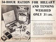 Mount Everest 1953 British first ascent advert - ration packs