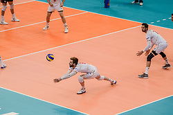 June 17, 2018 - Varna, Bulgaria - Julien Lyneel, France play the ball .. during Mens Volleyball Nations League, VNL, match between France and Canada at Palace of Culture and Sport in Varna, Bulgaria on June 17, 2018  (Credit Image: © Hristo Rusev/NurPhoto via ZUMA Press)