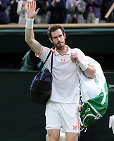 Tennis - 2021 All England Championships - Week One - Day Five (Friday) - Wimbledon<br /> Andy Murray v Denis Shapovalov<br /> <br /> Andy Murray waves to the crowd after defeat<br /> <br /> <br /> CreditCOLORSPORT/Andrew Cowie