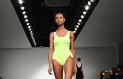 Models on the catwalk during the Marta Jakubowski London Fashion Week SS18 show held at 180 Strand, London.