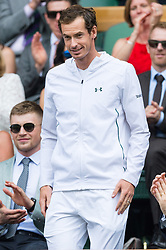 July 8, 2017 - London, London, UK - Sir Andy Murray makes an appearance in the Royal Box on the centre court tennis on the sixthday of the Wimbledon Lawn Tennis Championships. (Credit Image: © Ray Tang via ZUMA Wire)