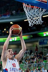 Nikola Kalinic #10 of Serbia during basketball match between National teams of France and Serbia in 2nd Round at Day 12 of Eurobasket 2013 on September 14, 2013 in SRC Stozice, Ljubljana, Slovenia. (Photo By Urban Urbanc / Sportida)